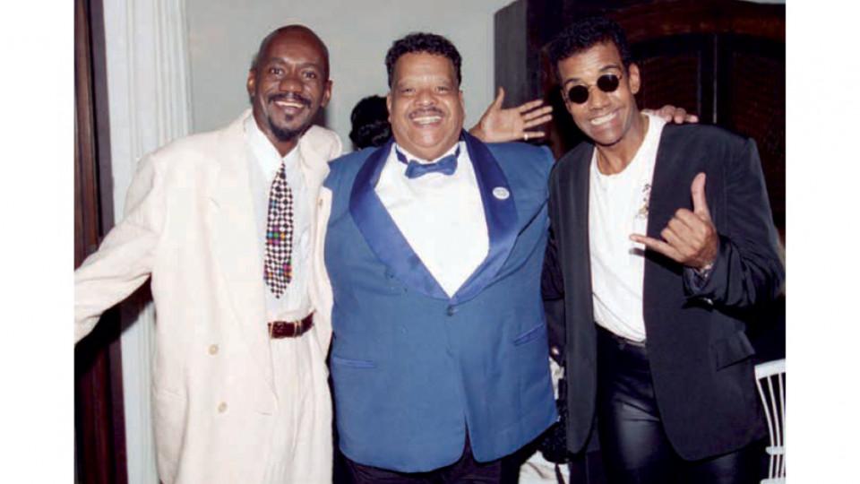 Ao lado de Tim Maia e Jorge Ben Jor na entrega do Prêmio Sharp de Música de 1995.