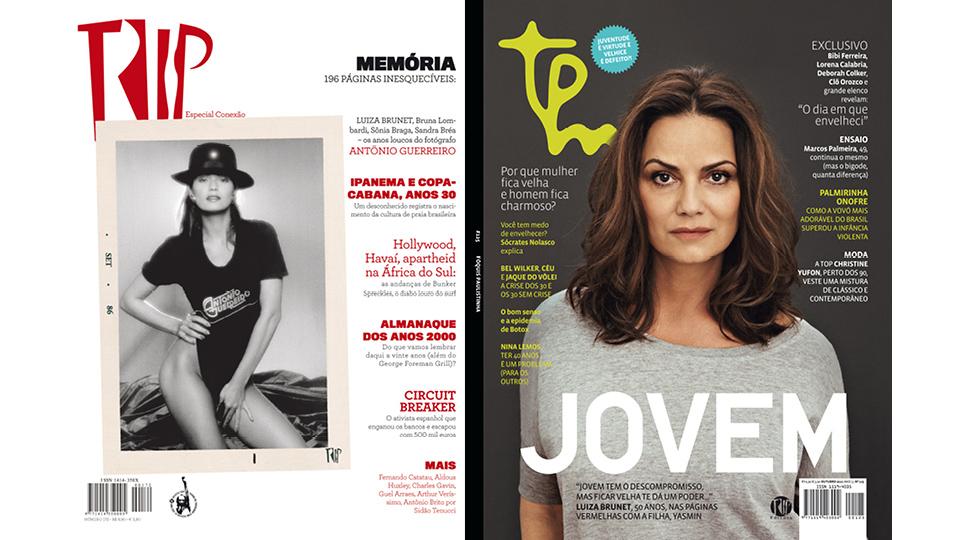 A atriz Luiza Brunet na capa da revista Trip, em 2008, e na Tpm, em 2012