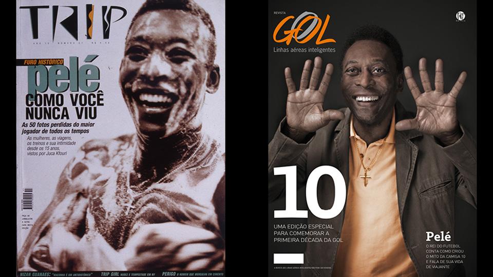 Edson Arantes do Nascimento, o Pelé, ex-jogador de futebol, nas capas das revistas TRIP #57 (1997) e revista da GOL #108 (2010)