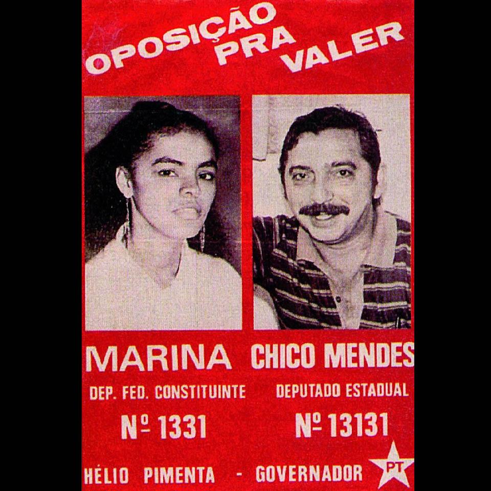 Propaganda eleitoral de Marina Silva e Chico Mendes, em 1986