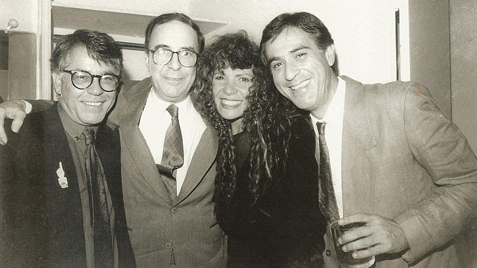 Nelson Motta, o músico João Gilberto, a cantora Elba Ramalho e o apresentador Amaury Jr.