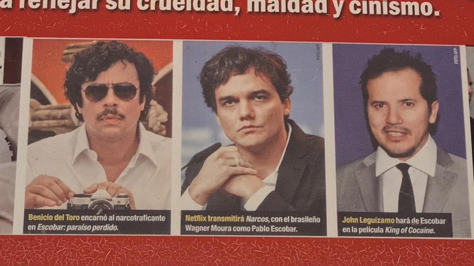 O Museo Memorial expõe logo na entrada um curioso painel fotográfico com atores que já interpretaram o narcotraficante no cinema e TV – o ator brasileiro Wagner Moura, da série Narcos, também está lá
