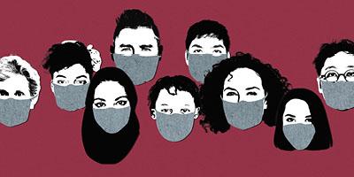 Ilustração Rostos Máscaras Covid Protesto