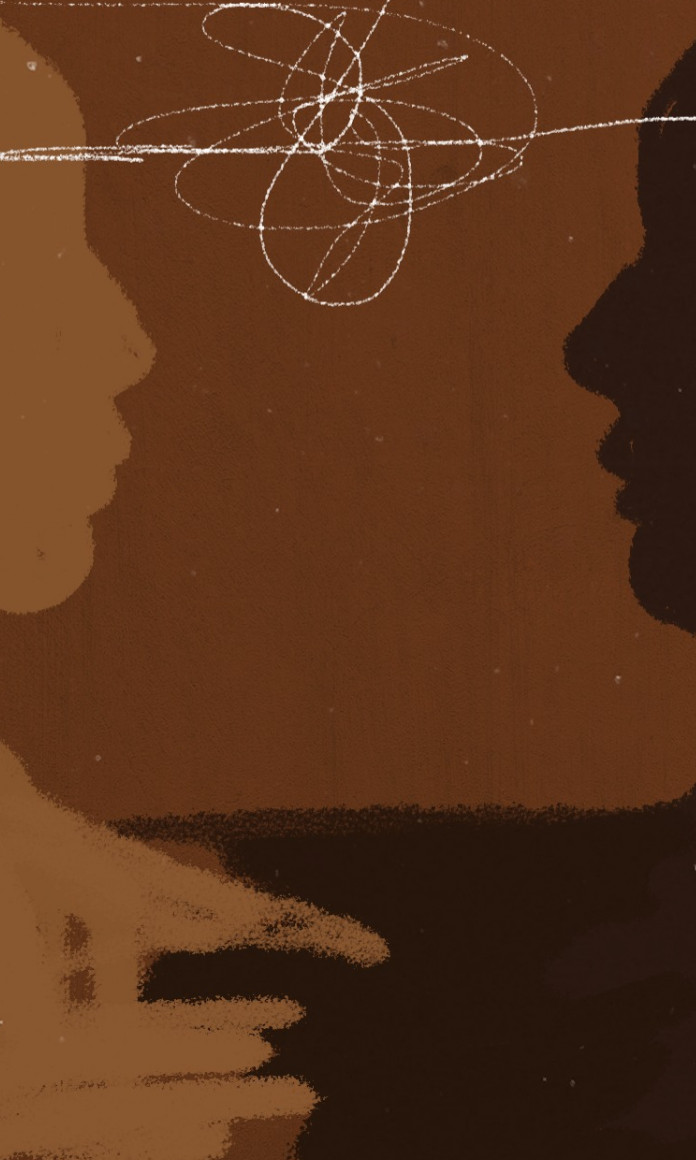 Ilustração mostra a sombra de duas pessoas conversando