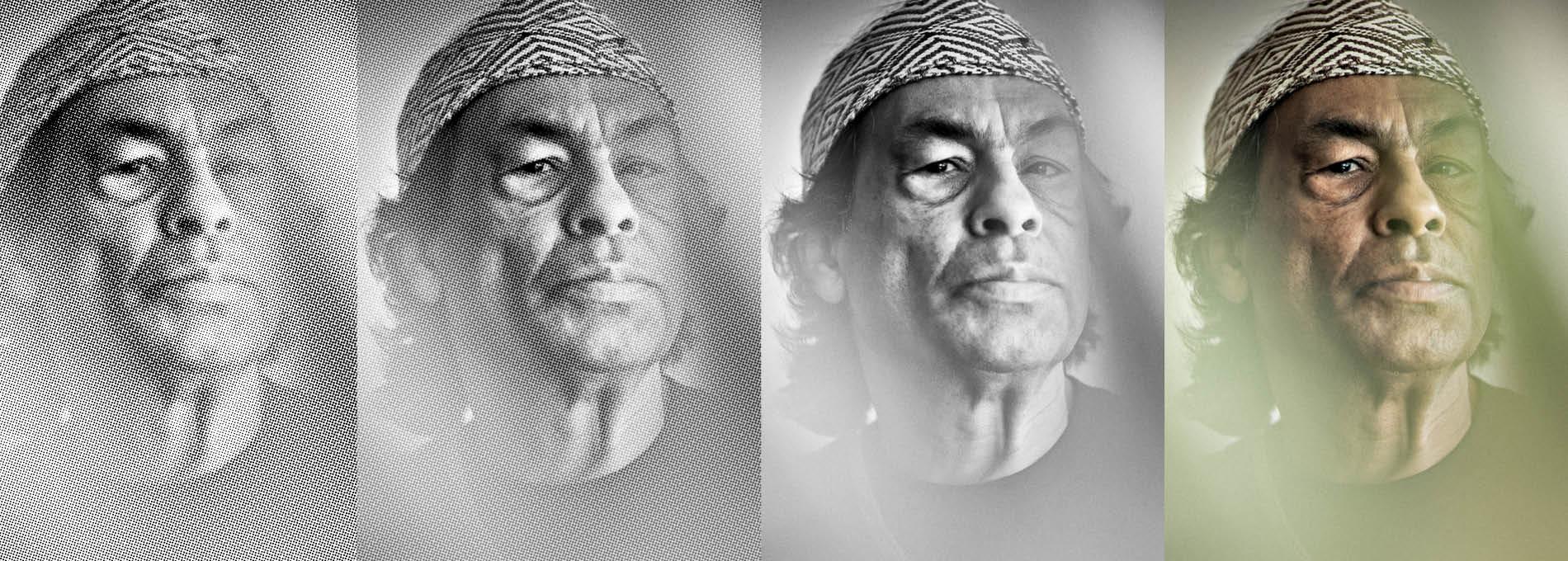 Ailton Krenak Foto Reticulada Preto e Branca Colorida