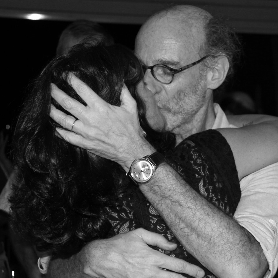 Claudia Lisboa durante a comemoração do aniversário de 60 anos de Eduardo Rozenthal, seu último relacionamento. O psicanalista faleceu em 2019