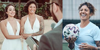 Cristiane Rozeira Jogadora Futebol Calçando Chuteira e com sua esposa no dia do seu casamento