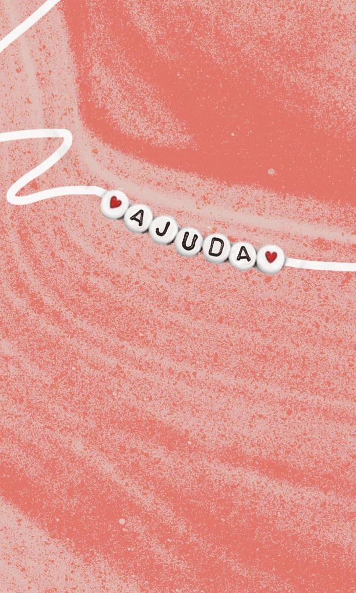 Ilustração de um colar de contas com letras completando a palavra ajuda