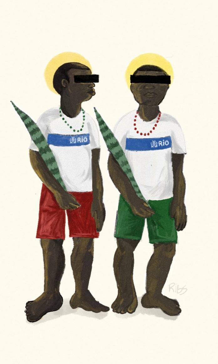 Dois meninos vestidos com uniforme escolar do Rio de Janeiro ter os olhos cobertos por uma tarja e seguram uma costela de adão